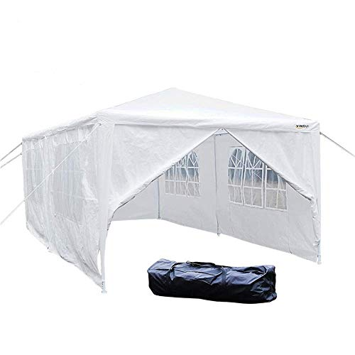 VINGLI 10'x20' Outdoor Canopy Tent Wedding Party+ 6 Removable Sidewalls,Upgraded Steel Thicken Tube & Anti-UV Protection Shelter,BBQ Gazebo w/Cathedral Windows -