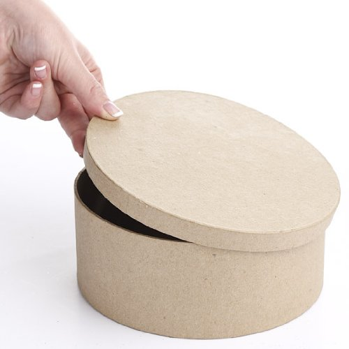 Package of 6 Ready to Decorate Paper Mache Boxes with Lid for Crafting, Creating and Projects