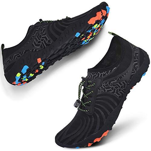 JIASUQI Breathable Aqua Water Shoes Beach Sandals Pool Swim for Woman Man Black US 8.5 Women, 7 Men ()