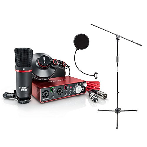 Focusrite SCARLETT Studio Pack w/CM25 Microphone, Headphones, 2i2, Code for Software Bundle Mic Cable, Boom Stand, and Pop Filter (Best Home Studio Sound Card)