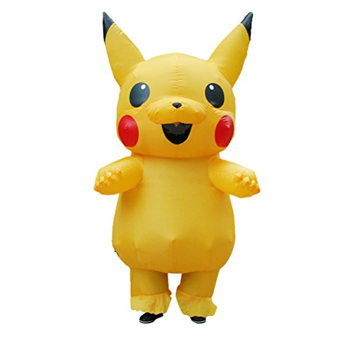 ANOTHERME Inflatable Pikachu Fancy Dress for Adults | Halloween Costume | Blow Up Costume Yellow ()