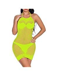 Women's Mesh Lingeries Fishnet Babydolls Mini Dress Nightgown Lingerie Bodysuit Negligees
