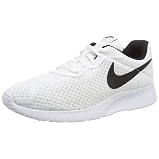 Nike Men's Tanjun Sneakers, Breathable Textile Uppers and Comfortable Lightweight Cushioning White/Black