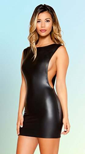 (Roma Costume Mini Dress with Open Cutout Side Detail, Black, Small)