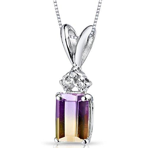 - 14 Karat White Gold Emerald Cut 1.00 Carats Ametrine Diamond Pendant