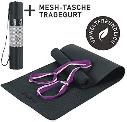 TOMSHOO Esterilla de Gimnasia Basic + Correa - Esterilla de Yoga Antideslizante - Esterilla de Entrenamiento TPE - 183 x 61 x 0,6 cm - hipoalergénica ...
