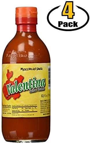 Valentina Salsa Picante Mexican Hot Sauce, Yellow Label, Mild/Medium Spicy - 12.5 Ounce (Oz) Bottles - Hot Ones Sauces Sampler Favorite Valentinas Brand, Packed by BASED BOX Bundle Packs (Pack of 4)