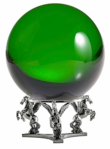 Amlong Crystal Green Crystal Ball 130mm (5 inch) Including Silver Pegasus Stand (Crystal Pegasus)