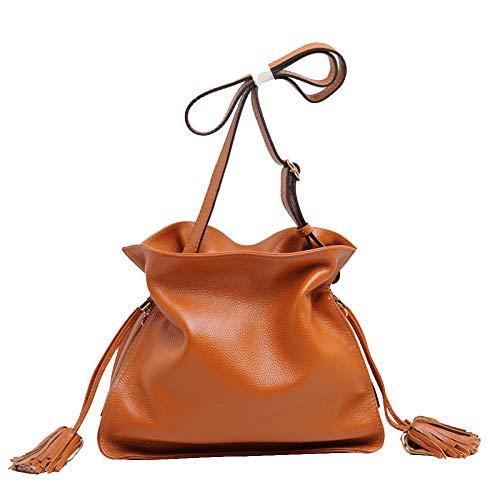 Sacs à main, sac à bandoulière Femme Seau à bandoulière avec glands Sac à bandoulière en forme de croix, grande main en cuir brun véritable