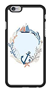 Cute Anchor Nautical Sea Life Sailing Boat Snap-On Cover Hard Plastic Case for iPhone 6 (Black)