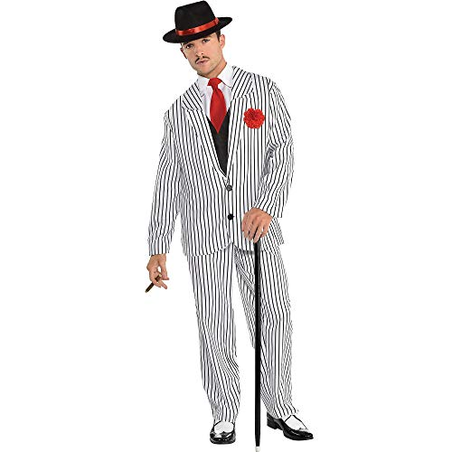 1950s Gangster Halloween Costumes (amscan Gangster Halloween Costume for Men, Standard, with Included)