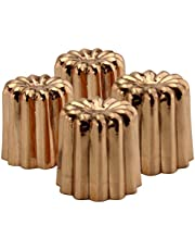 Darware Copper Canelé Pastry Molds (4-Pack); 2-Inch Bourdeaux French Custard Cannele Cake Traditional Pastry Baking Molds with Heat-Conducting Copper