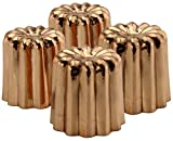 Copper Canelé Pastry Molds (4-Pack); 2-Inch Bourdeaux French Custard Cannele Cake Traditional Pastry Baking Molds with Heat-Conducting Copper