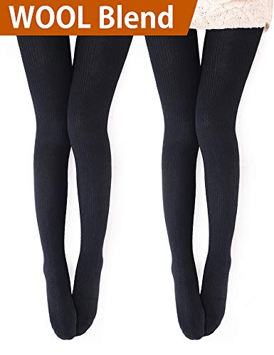 Vero Monte 2 Pairs Womens Wool Blend Ribbed Tights - Opaque Knit Tights (Black) ()