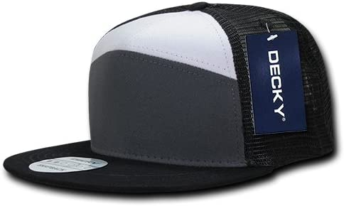 DECKY 1133-CHAWHTBLK 7 Panel Trucker Caps Black Charcoal//White//Black