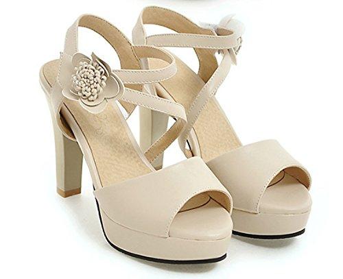 Donna Sandali Blu da Toe Open alto Shoes con Rosa Beige Sandali Huaishu 34 donna tacco 39 Sd6nEqCCwx