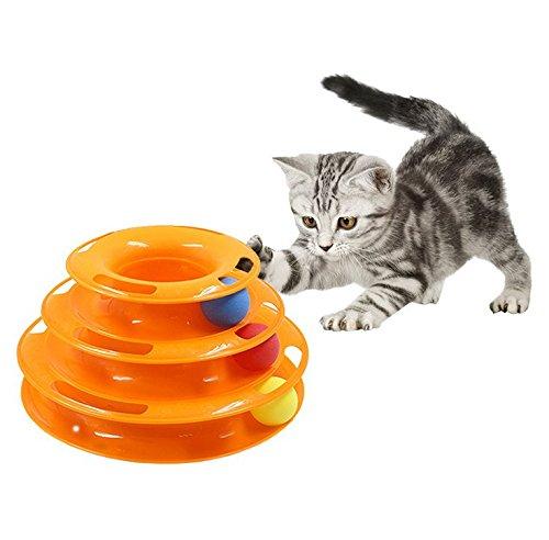 Divertimento stupefacente Gioca a Catching Game for Kittens Giocattoli interattivi per gatti Torre a 3 livelli Giocattoli a rulli Cats