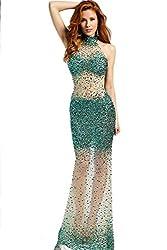 Women's Long Rhinestone Studded Transparent Dress