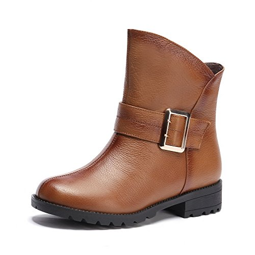 Material skidding Bottom Toe Boots Brown Women's Breasted Closed with Soft and Solid Double Anti WeiPoot wUgaqE