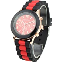 Women's Silicone Band Jelly Gel Quartz Wrist Watch Red from Sanwood
