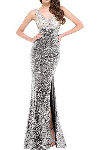 Partykleider Abendkleider Neu Paillette Glamour Steine Ivydressing Promkleider 2018 Lang Silver Meerjungfrau Schwarz 8qBWWwvE