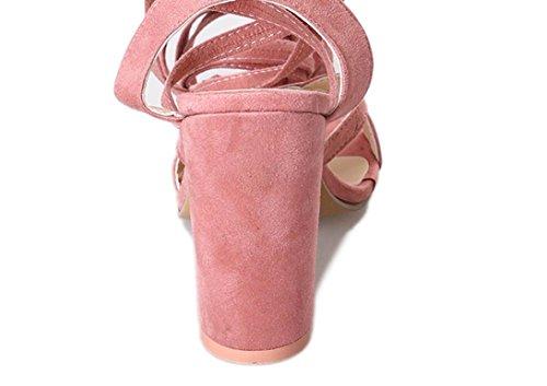 e con Donna Tacchi beautyjourney Scarpe Tacco Caviglia Elegant estive Sandali Zeppa Aperte Moda Donna Sandali Alti Scarpe Plateau Toe con estive Rosa Donne Eleganti Donna Donna Sandali qA0r16EA