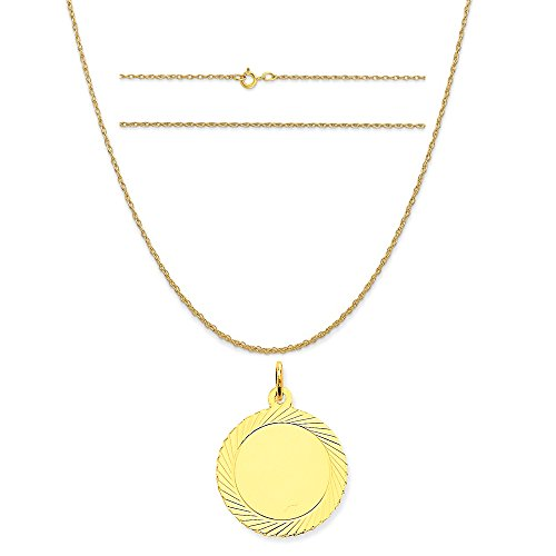 14k Yellow Gold Etched Design .018 Gauge Circular Engravable Disc Charm on Rope Chain Necklace, 16