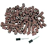 TEMO 100 PC 1/4 inch (6mm) Sand Drum Grit 240 Fine with 2 pc 1/8 inch (3mm) Mandrel fit Dremel and Compatible Rotary Tools