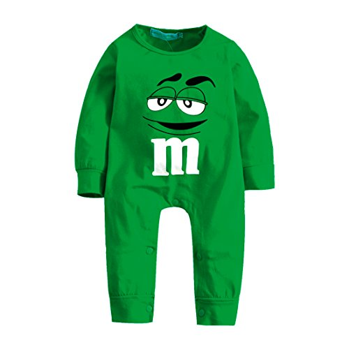 Elibella Halloween: Baby Superhero Long Sleeves Pajama/Romper (0-6 Months, Green -