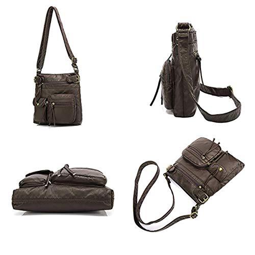 Handbag Bag Coffee Washed Lightweight Brenice Pocket Leather Vintage Small Business Crossbody Bag Multi Shoulder qH557