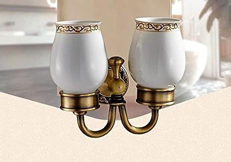 QUEENS Cobre antiguo accesorios de baño estilo de doble taza taza de cerámica porta cepillo de