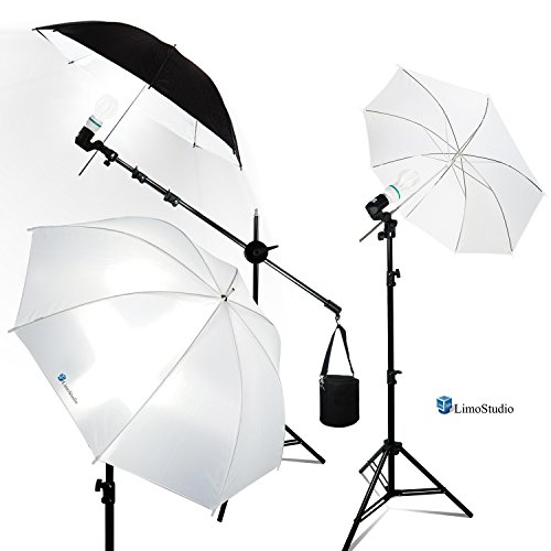 LimoStudio Photography Portrait Studio Umbrella Reflector Kit, LED Continuous Lighting, Boom Stand Arm Slope Bar with Light Stand Tripod and Counter Weight Sand Bag,AGG2590