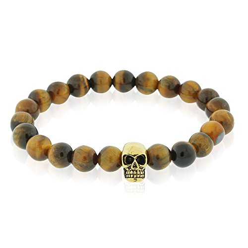 EDFORCE Stainless Steel Brown Simulated Tiger Eye Beads Gold-Tone Skull Mens Stretch Bracelet, 8