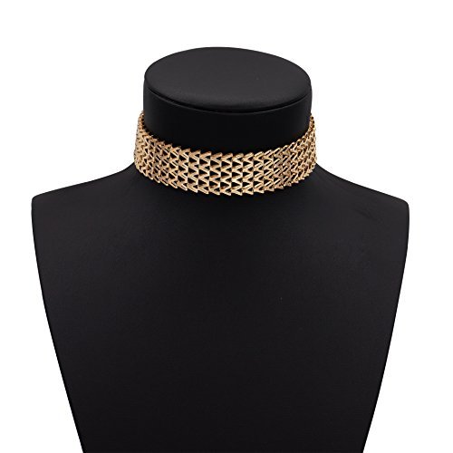 Boosic Thick Golden Metal Choker Necklace Adjustable Chain for (Choker Gold Necklace)