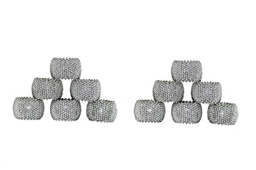 Cotton Craft - 12 Pack Beaded Napkin Ring Set - Metallic Silver - Hand Made by Skilled artisans - A Beautiful complement to Your Dinner Table décor ()