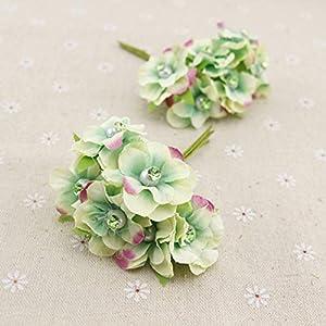 GSD2FF 6pcs Pearl Silk Artificial Flowers Garland Head Wreaths for Wedding car Decoration Bouquet Decorative Corsage,Lake Blue 12