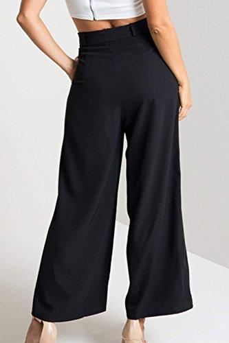 Pantaloni Grazioso Alla Waist Nero Libero Colori High Pantaloni Baggy Pantaloni Pantaloni Women Giovane Donna Tempo Fashion Estivi Solidi Sciolto Palazzo Eleganti Moda BqPtna