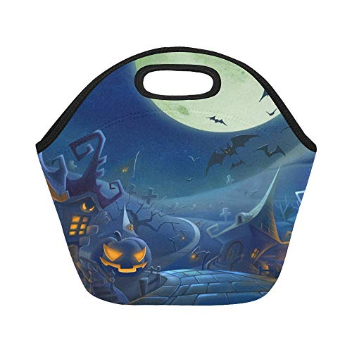 Insulated Neoprene Lunch Bag Halloween Day K Hd Wallpapers Freecomputerdesktop Large Size Reusable Thermal Thick Lunch Tote Bags For Lunch Boxes For Outdoors,work, Office, School ()