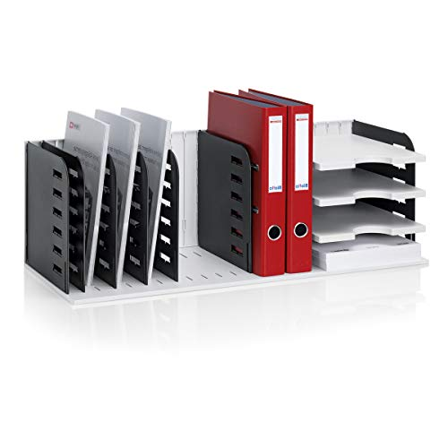 Ultimate Office VersaFile Desk Organizer Letter Trays, Vertical Sorter and Hanging File Rack for Fast and Easy Desktop Access to All of Your Forms, Books, Binders, and Files!, Gray w/Black Dividers