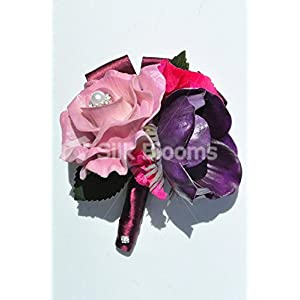 Bright and Vibrant Artificial Fresh Touch Pink Rose and Purple Anemone Wedding Buttonhole 62