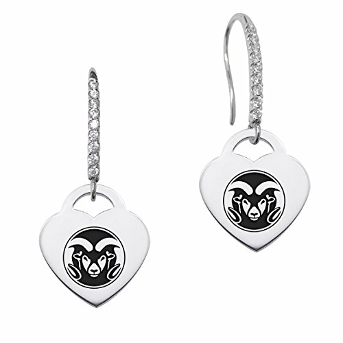 Colorado State Rams Dangle Earring with Heart Charm and Cz Accents by College Jewelry