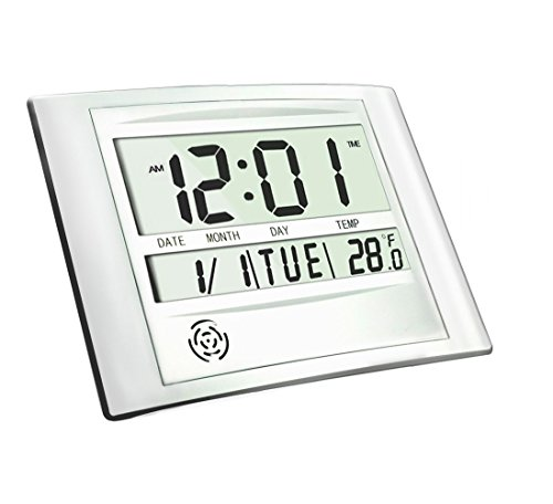 Heqiao Digital Wall Clock Brushed Aluminum Large Lcd Desk