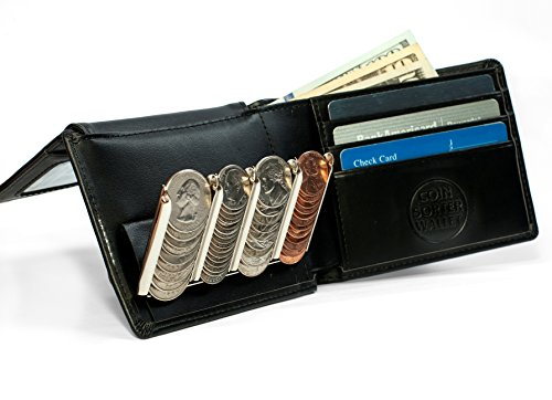 Bifold Wallet with Coin Sorter - Leather Outside, Genius Inside (Black)