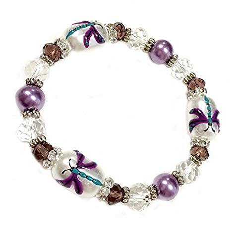 Linpeng BR-2420K Fiona Hand Painted Dragonfly Glass Beads Bracelet ()
