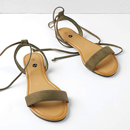 Wrap Flat Tan Open Sandals Tie Toe Rekayla for Ankle Up Women qvSFXXUw