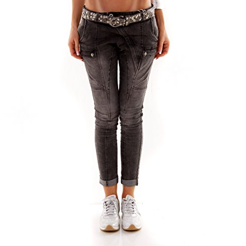 Italy Damen Fashion Chino Hose Autuum Jeans COOL Boyfriend Harem Pant Darkgrey (M)