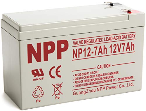 NP12-7Ah 12V 7Ah AGM Rechargeable Maintenance Free Valve Regulated Sealed Lead Acid Battery with F2 ()