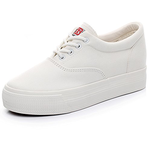 Renben Girls Women Low Wedge Heel Canvas Sneakers Comfort Platform Espadrilles White 3616 US7.5 (Canvas Platform)