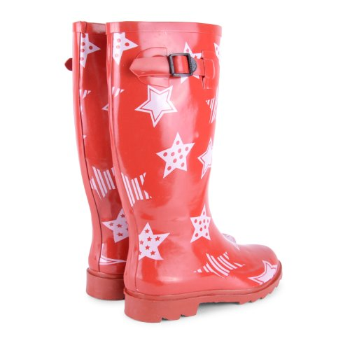 New Womens Ladies Festival Lluvia Nieve Botas Tamaño UK 345678de montar de invierno botas de agua rojo - rojo