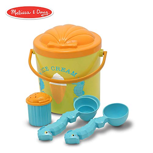 Melissa & Doug Sunny Patch Speck Seahorse Sand Ice Cream Play Set (Beach and Sandbox Toy, 6 Pieces) ()